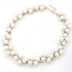 Exquis Alliage/Pearl avec Strass Dames Colliers
