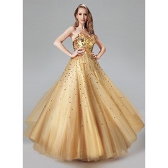 Ball-Gown Sweetheart Floor-Length Tulle Prom Dress With Sequins