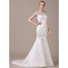 Trumpet/Mermaid Scoop Neck Court Train Satin Wedding Dress With Beading Appliques Lace Sequins