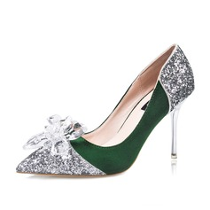 Women's Suede Sparkling Glitter Stiletto Heel Pumps Closed Toe With Rhinestone shoes