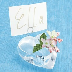 Heart Shaped Glass Place Card Holders