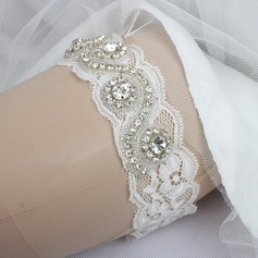 Elegant Lace With Rhinestone Wedding Garters (104068583)