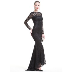Trumpet/Mermaid Scoop Neck Asymmetrical Lace Evening Dress