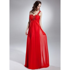 Empire One-Shoulder Floor-Length Chiffon Evening Dress With Beading Appliques Lace