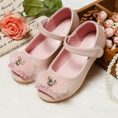 Girl's Real Leather Round Toe Closed Toe Mary Jane Flats With Imitation Pearl Flower