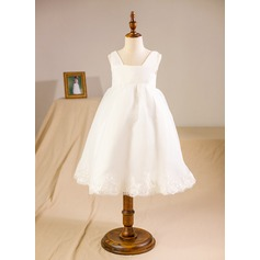 A-Line/Princess Knee-length Flower Girl Dress - Organza Sleeveless Square Neckline With Lace/Sash