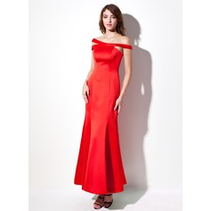 Trompet/Havfrue Off-the-Shoulder Ankel-lengde Satin Festkjole