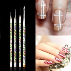 Unique 4Pcs Nail Brushes With Porcelain Pattern PVC Handle