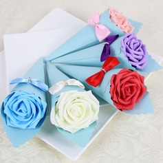 Rose Design Pyramid Favor Boxes With Rhinestone (Set of 12)