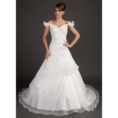 Ball-Gown Off-the-Shoulder Chapel Train Satin Organza Wedding Dress With Ruffle Beading Flower(s) Sequins