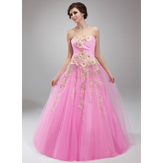 Ball-Gown Sweetheart Floor-Length Tulle Quinceanera Dress With Ruffle Beading Appliques Lace
