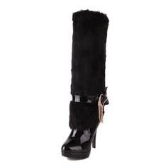 Patent Leather Stiletto Heel Knee High Boots With Rhinestone shoes