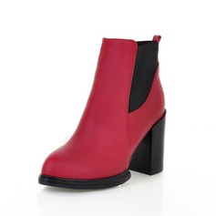 Leatherette Chunky Heel Ankle Boots shoes