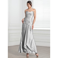 Sheath/Column Sweetheart Ankle-Length Taffeta Evening Dress With Ruffle Beading