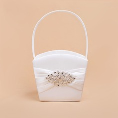 Beautiful Flower Basket in Satin With Rhinestones (102061275)
