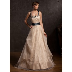 A-Line/Princess Floor-Length Organza Prom Dress With Ruffle Sash Appliques Lace Bow(s)
