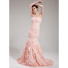 Trumpet/Mermaid Strapless Court Train Chiffon Evening Dress With Beading Cascading Ruffles