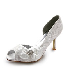 Women's Satin Stiletto Heel Peep Toe Pumps With Bowknot Rhinestone