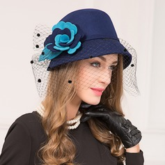 Ladies' Vintage Wool With Silk Flower Bowler/Cloche Hat