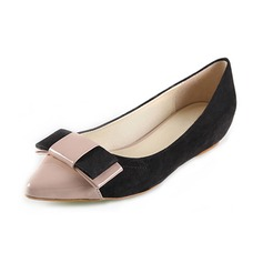 Suede Patent Leather Flat Heel Flats Closed Toe With Bowknot shoes