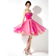 Empire Sweetheart Knee-Length Organza Homecoming Dress With Ruffle Beading Sequins