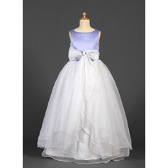 Ball Gown Floor-length Flower Girl Dress - Organza/Satin Sleeveless Scoop Neck With Sash/Bow(s)