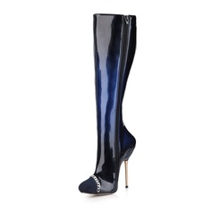 Women's Suede Patent Leather Stiletto Heel Pumps Closed Toe Boots Knee High Boots With Chain shoes