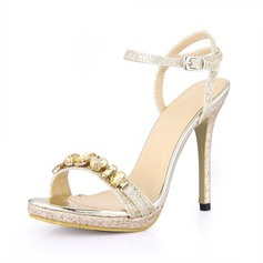 Women's Sparkling Glitter Stiletto Heel Sandals Peep Toe Slingbacks With Rhinestone Buckle shoes