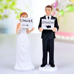 """I'm With Her/Him"" Resin Wedding Cake Topper"