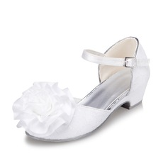 Girl's Satin Low Heel Closed Toe Flats With Flower