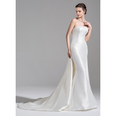 Trumpet/Mermaid Strapless Watteau Train Satin Wedding Dress With Beading Sequins