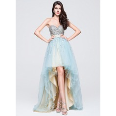 A-Line/Princess Sweetheart Asymmetrical Tulle Homecoming Dress With Ruffle Beading Sequins