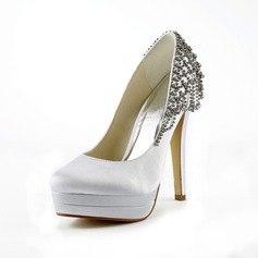 Women's Satin Stiletto Heel Closed Toe Platform Pumps With Rhinestone