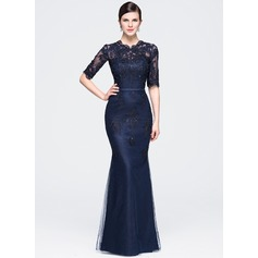 Trumpet/Mermaid Scoop Neck Floor-Length Tulle Evening Dress With Beading Appliques Lace Sequins (017071556)