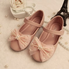 Girl's Leatherette Flat Heel Round Toe Closed Toe Mary Jane With Bowknot Imitation Pearl (207096058)