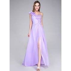 A-Line/Princess One-Shoulder Sweep Train Chiffon Prom Dress With Beading Sequins Split Front