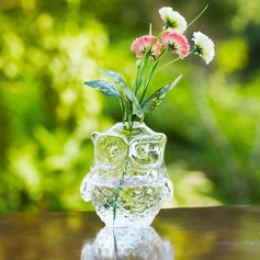 Owl design Glass Vase