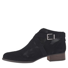 Women's Suede Chunky Heel Closed Toe Ankle Boots With Buckle shoes