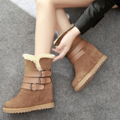 Women's Suede Flat Heel Snow Boots With Buckle shoes (088104822)