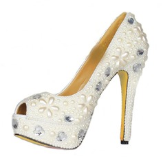 Patent Leather Stiletto Heel Peep Toe Platform Sandals With Rhinestone Imitation Pearl