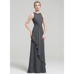 Empire Scoop Neck Floor-Length Evening Dress With Beading Sequins Cascading Ruffles