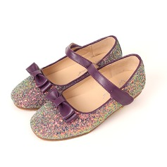 Girl's Sparkling Glitter Flat Heel Closed Toe Flats With Bowknot Velcro
