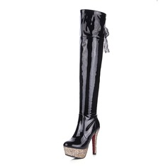 Women's Patent Leather Stiletto Heel Boots shoes