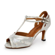 Women's Satin Leatherette Heels Sandals Latin With T-Strap Dance Shoes