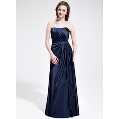 Sheath/Column Sweetheart Floor-Length Charmeuse Bridesmaid Dress With Cascading Ruffles