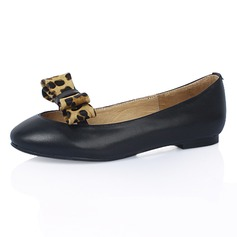 Leatherette Flat Heel Flats Closed Toe With Bowknot Animal Print shoes