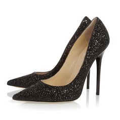 Leatherette Stiletto Heel Pumps Closed Toe With Beading shoes