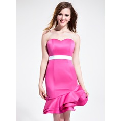 Sheath/Column Sweetheart Asymmetrical Satin Bridesmaid Dress With Sash Cascading Ruffles