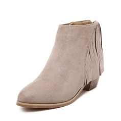 Women's Suede Chunky Heel Ankle Boots With Tassel shoes