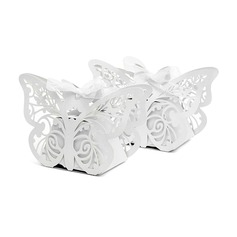 Butterfly Laser-cut Favor Boxes With Ribbons (Set of 12)